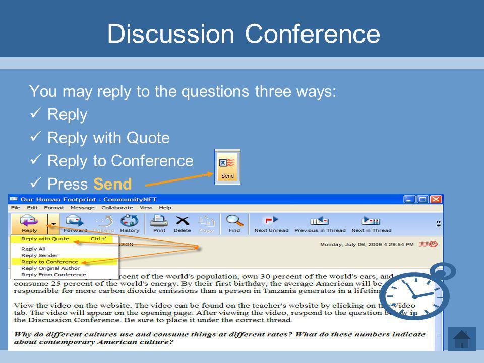 Discussion Conference You may reply to the questions three ways: Reply Reply with Quote Reply to Conference Press Send