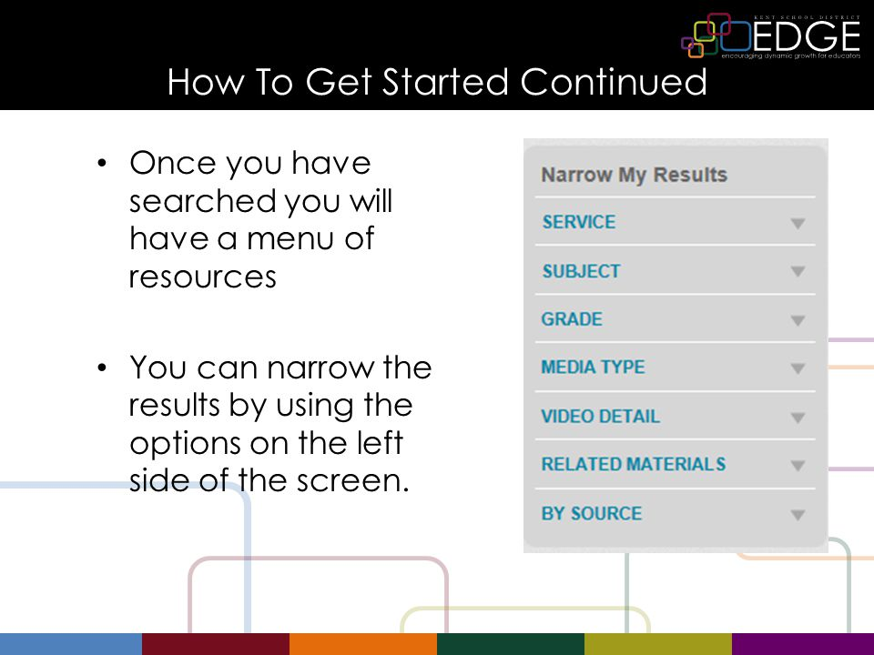 How To Get Started Continued Once you have searched you will have a menu of resources You can narrow the results by using the options on the left side of the screen.