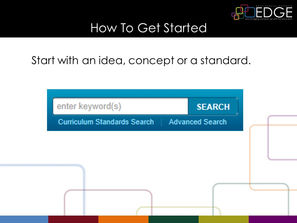 How To Get Started Start with an idea, concept or a standard.