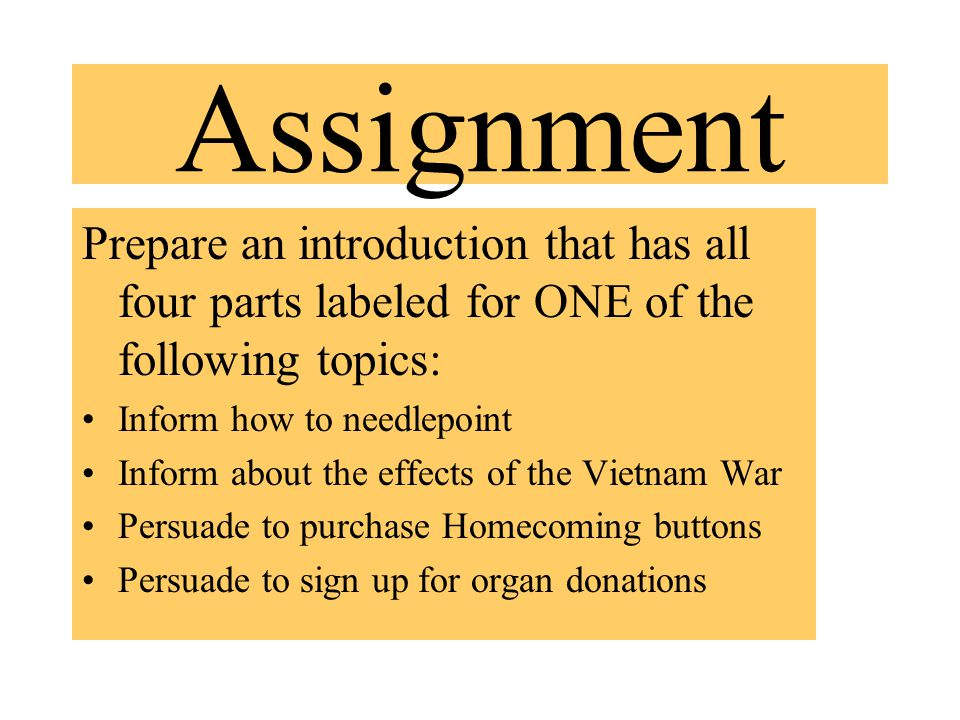 Assignment Prepare an introduction that has all four parts labeled for ONE of the following topics: Inform how to needlepoint Inform about the effects of the Vietnam War Persuade to purchase Homecoming buttons Persuade to sign up for organ donations