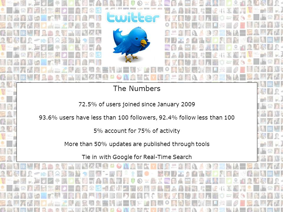 Twitter Info The Numbers 72.5% of users joined since January 2009 93.6% users have less than 100 followers, 92.4% follow less than 100 5% account for 75% of activity More than 50% updates are published through tools Tie in with Google for Real-Time Search