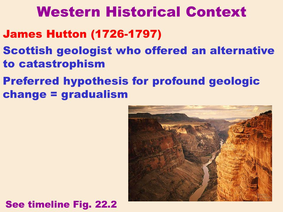 Western Historical Context Scottish geologist who incorporated Hutton's gradualism into the theory of uniformitarianism Charles Lyell (1797-1875) See timeline Fig.