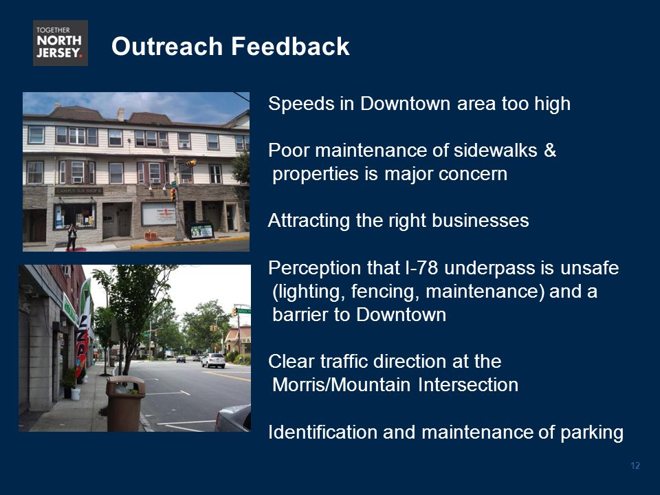 12 Outreach Feedback Speeds in Downtown area too high Poor maintenance of sidewalks & properties is major concern Attracting the right businesses Perception that I-78 underpass is unsafe (lighting, fencing, maintenance) and a barrier to Downtown Clear traffic direction at the Morris/Mountain Intersection Identification and maintenance of parking
