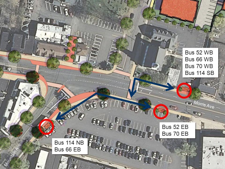 Bus 114 NB Bus 66 EB Bus 114 NB Bus 66 EB Bus 52 EB Bus 70 EB Bus 52 EB Bus 70 EB Bus 52 WB Bus 66 WB Bus 70 WB Bus 114 SB Bus 52 WB Bus 66 WB Bus 70 WB Bus 114 SB Morris Ave Mountain Ave