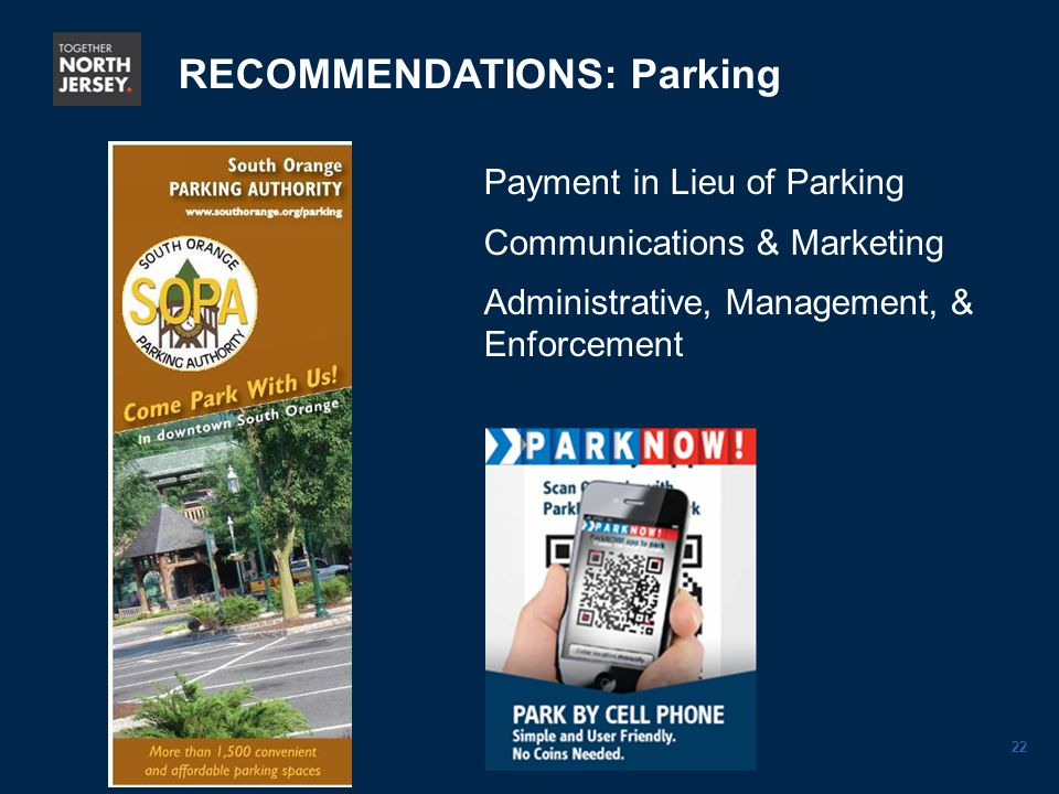 22 Payment in Lieu of Parking Communications & Marketing Administrative, Management, & Enforcement RECOMMENDATIONS: Parking