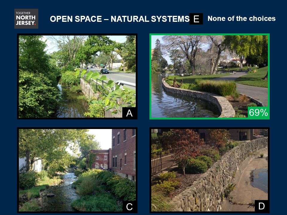 A C D 69% OPEN SPACE – NATURAL SYSTEMS E None of the choices