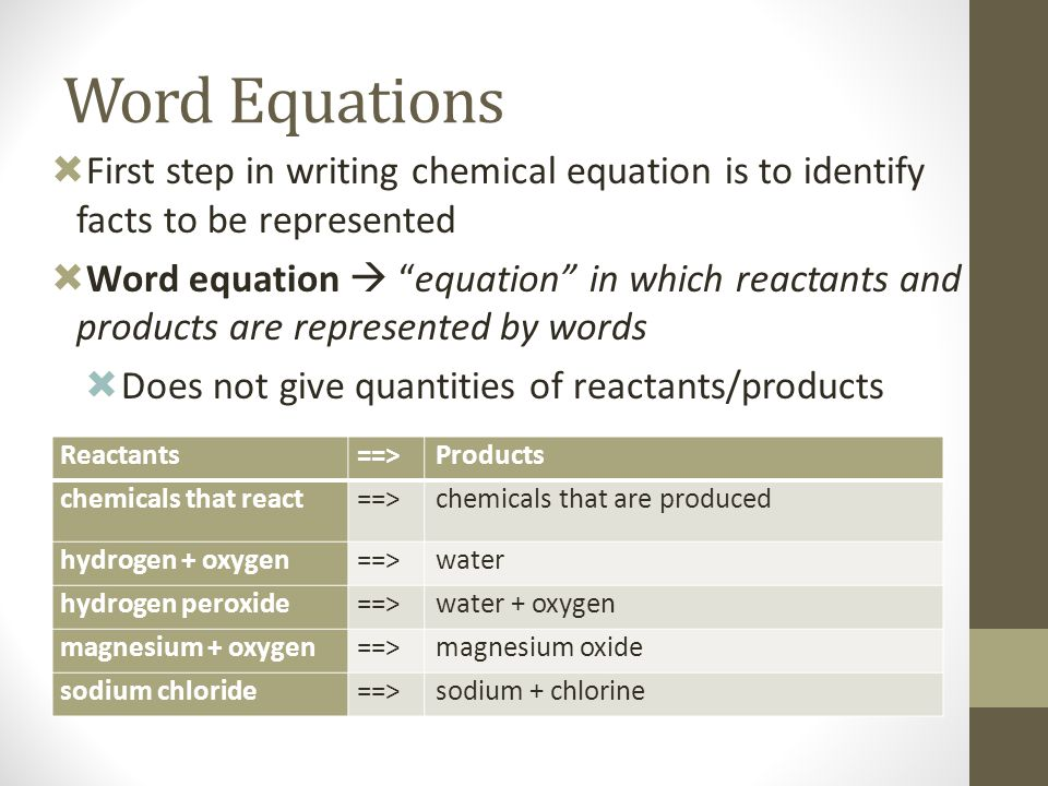 """Word Equations  First step in writing chemical equation is to identify facts to be represented  Word equation  """"equation"""" in which reactants and pr"""