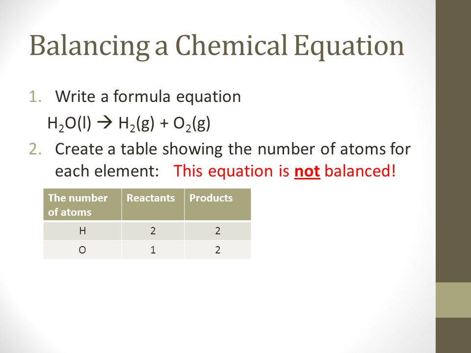 Balancing a Chemical Equation 1.Write a formula equation H 2 O(l)  H 2 (g) + O 2 (g) 2.Create a table showing the number of atoms for each element: T