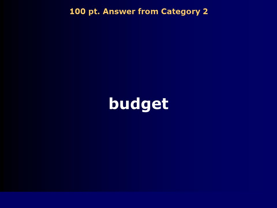 100 pt. Question from Category 2 A plan for how much money will be spent on each type of item that a person must buy