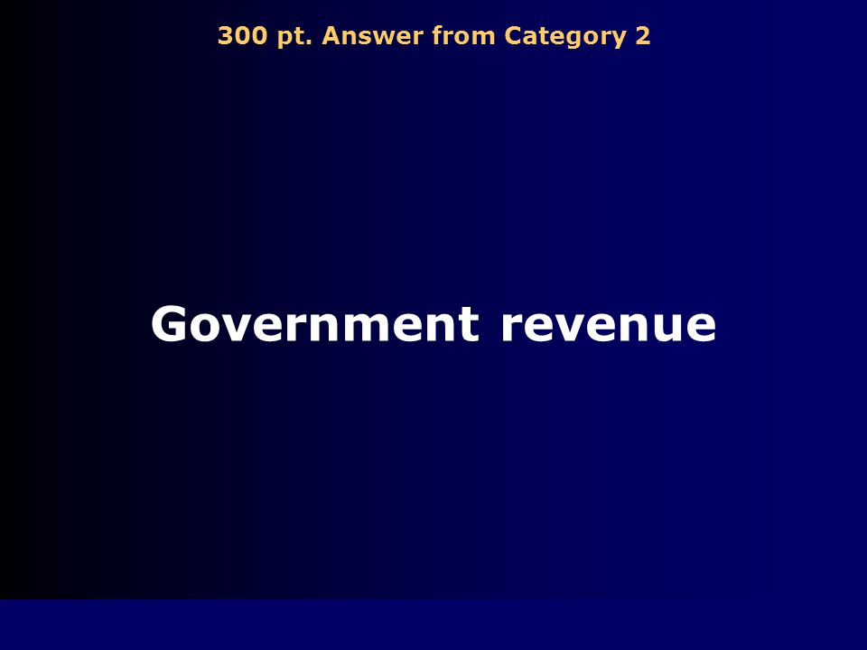 300 pt. Question from Category 2 Funds raised by the government through taxing and borrowing