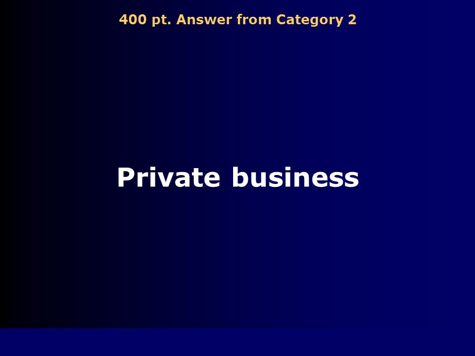 400 pt. Question from Category 2 Provides goods and services for what consumers want or need at a price consumers will pay