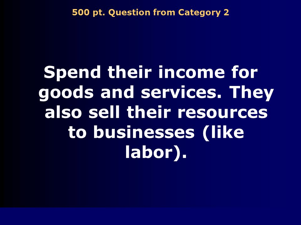 400 pt. Answer from Category 2 Private business