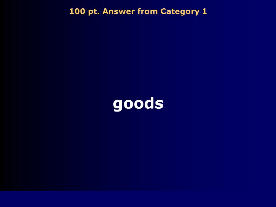 100 pt. Answer from Category 1 goods