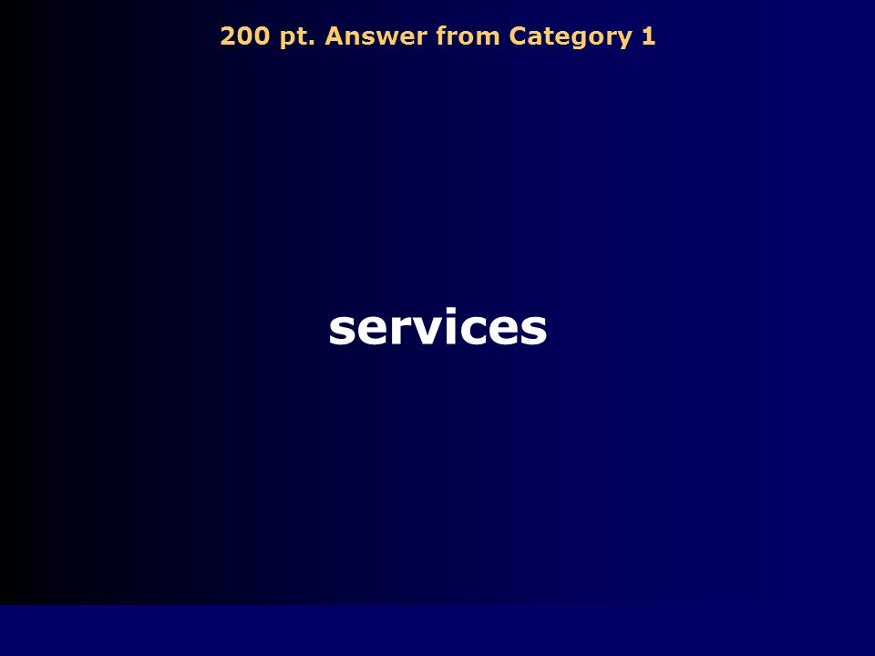 200 pt. Answer from Category 1 services