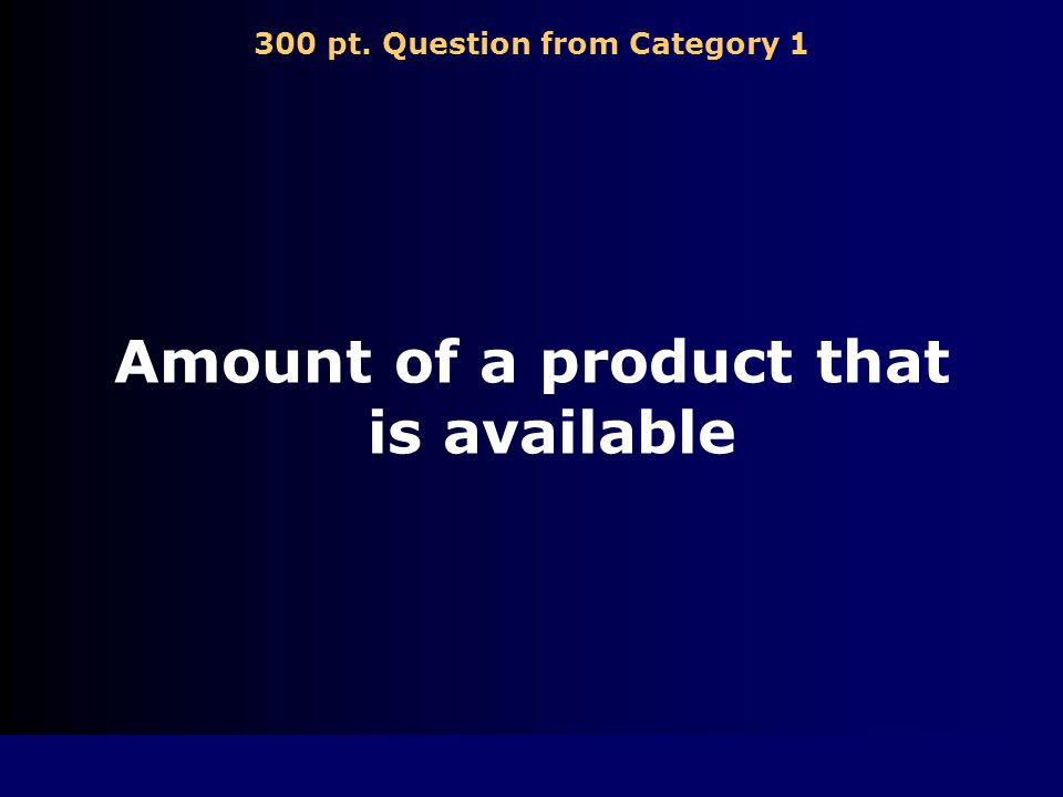300 pt. Question from Category 1 Amount of a product that is available