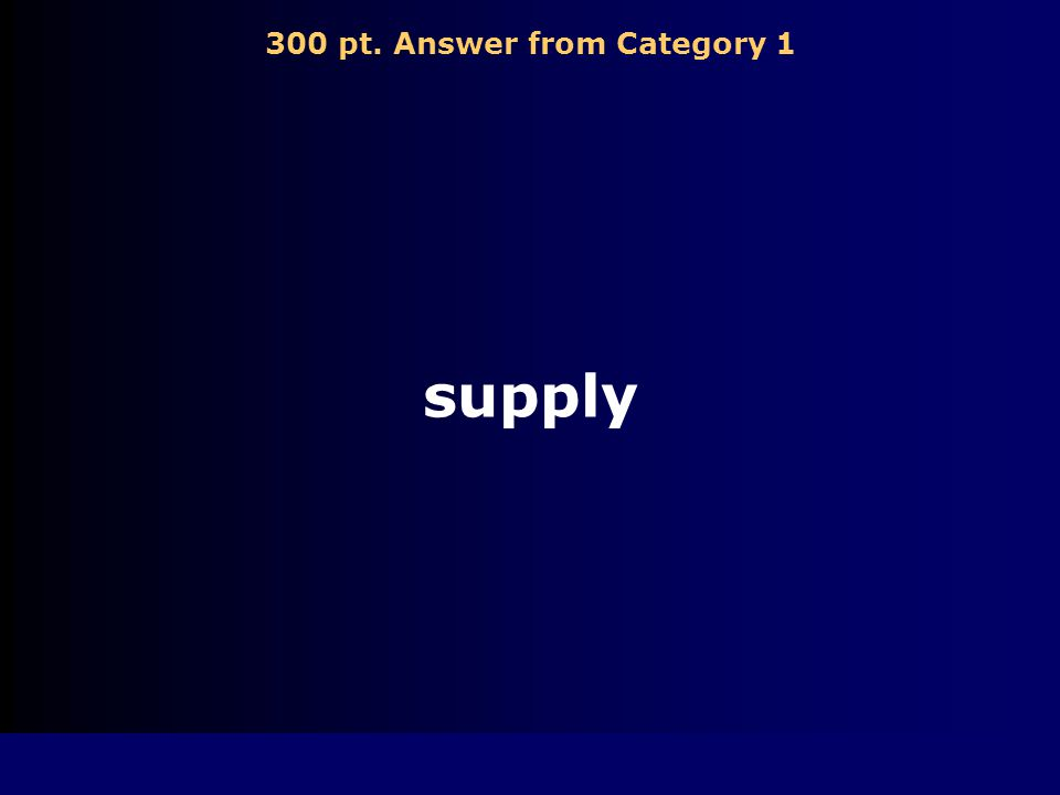 300 pt. Answer from Category 1 supply
