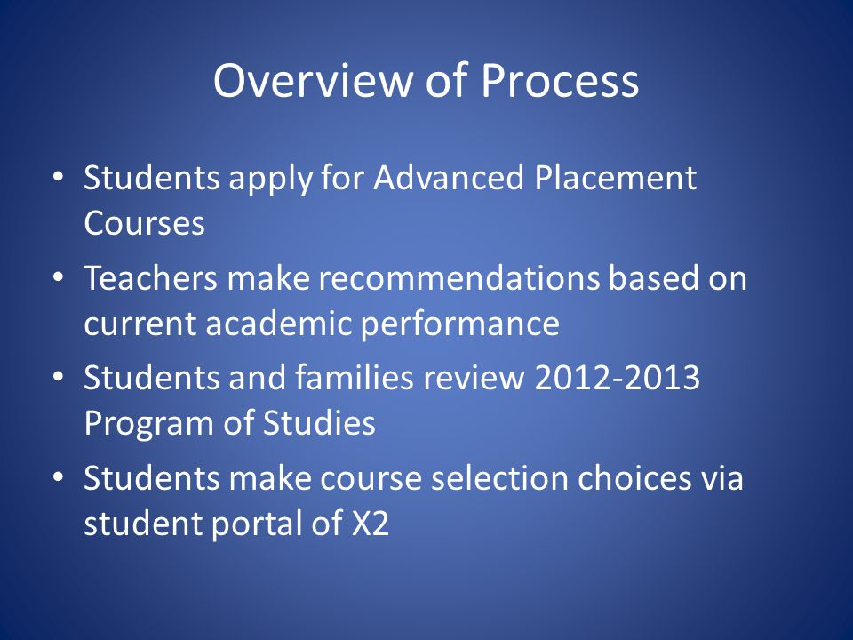 Overview of Process Students apply for Advanced Placement Courses Teachers make recommendations based on current academic performance Students and families review Program of Studies Students make course selection choices via student portal of X2