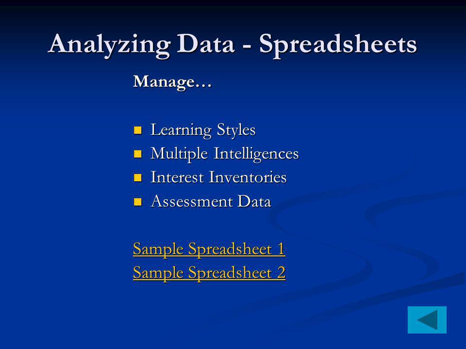 Analyzing Data - Spreadsheets Manage… Learning Styles Learning Styles Multiple Intelligences Multiple Intelligences Interest Inventories Interest Inve