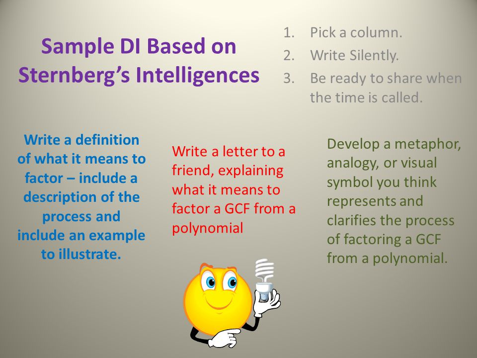 Sample DI Based on Sternberg's Intelligences 1.Pick a column.