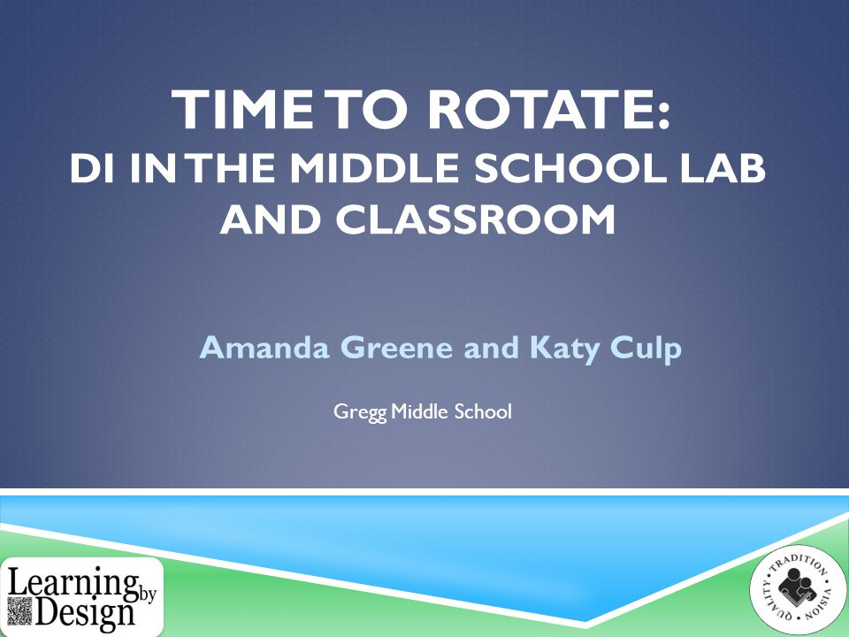 TIME TO ROTATE: DI IN THE MIDDLE SCHOOL LAB AND CLASSROOM Amanda Greene and Katy Culp Gregg Middle School