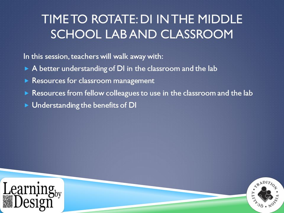 EXAMPLE OF DI IN THE CLASSROOM  Transitions  Assessments  Alternative Assessments