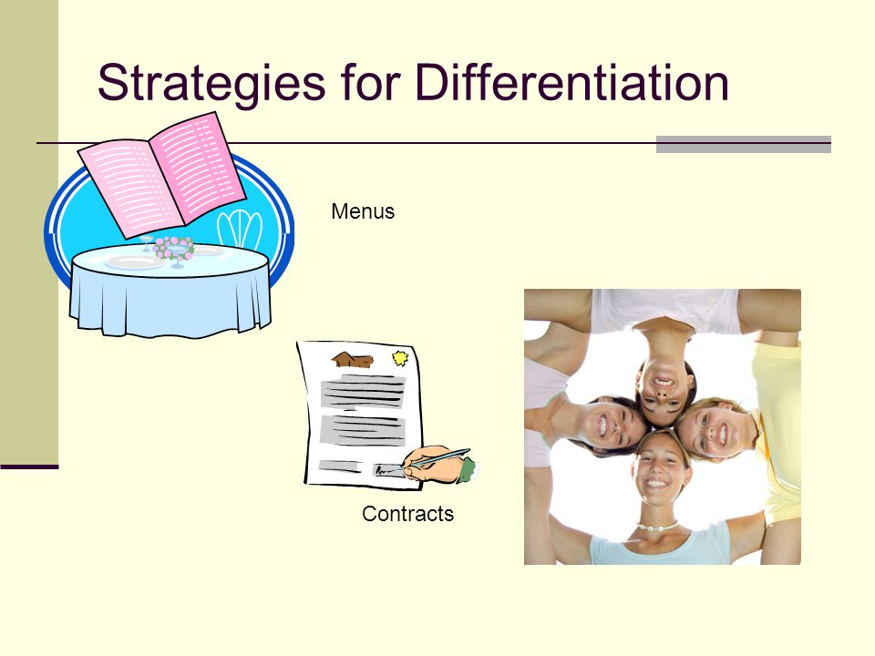 Strategies for Differentiation Contracts Menus