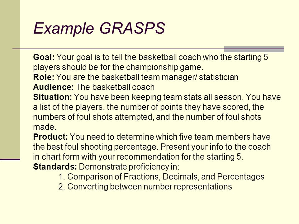 Example GRASPS Goal: Your goal is to tell the basketball coach who the starting 5 players should be for the championship game. Role: You are the baske
