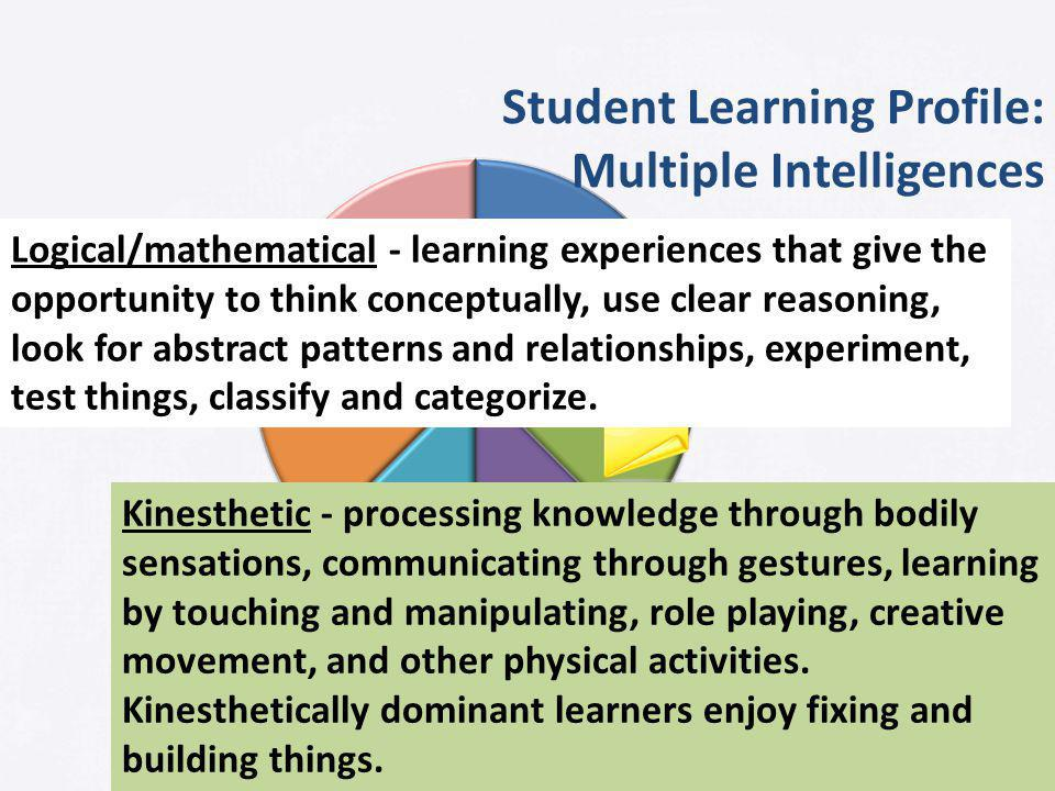 Student Learning Profile: Multiple Intelligences Logical/mathematical - learning experiences that give the opportunity to think conceptually, use clear reasoning, look for abstract patterns and relationships, experiment, test things, classify and categorize.