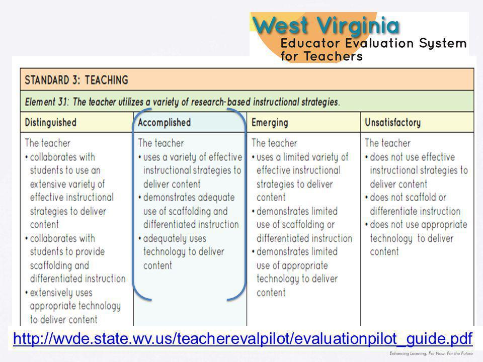 http://wvde.state.wv.us/teacherevalpilot/evaluationpilot_guide.pdf