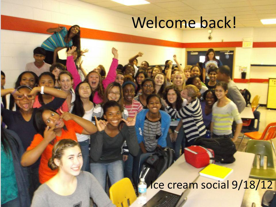 Welcome back! Ice cream social 9/18/12