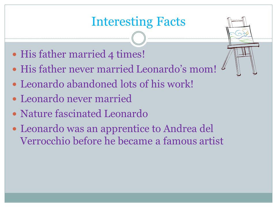 Interesting Facts His father married 4 times.His father never married Leonardo's mom.