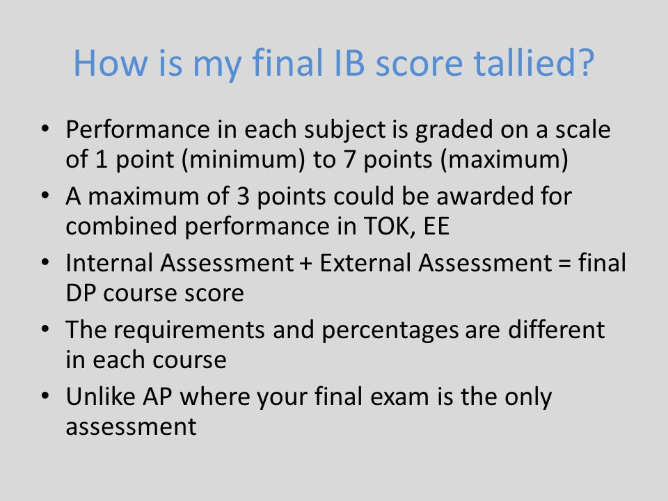 How is my final IB score tallied? Performance in each subject is graded on a scale of 1 point (minimum) to 7 points (maximum) A maximum of 3 points co