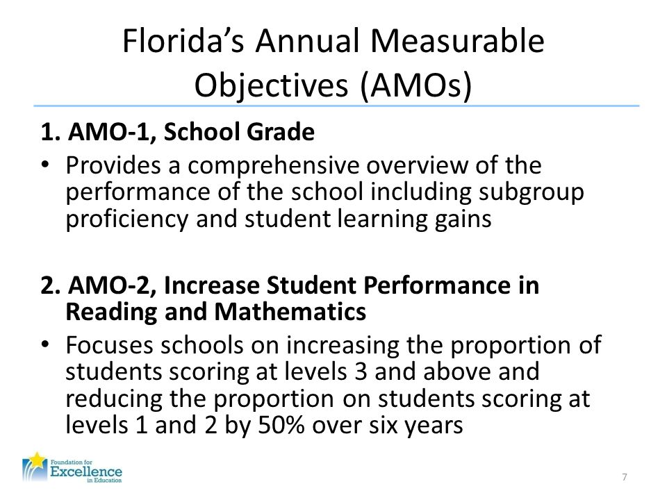 Florida's Annual Measurable Objectives (AMOs) 1. AMO-1, School Grade Provides a comprehensive overview of the performance of the school including subg