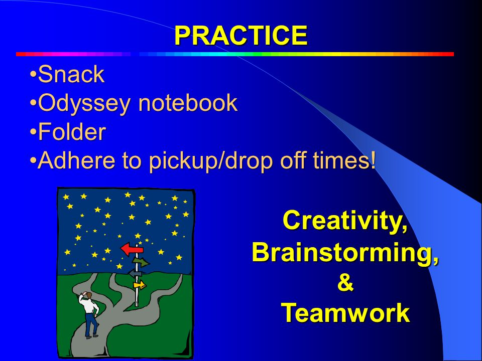 PRACTICE PenaltiesPenalties SnackSnack Odyssey notebookOdyssey notebook FolderFolder Adhere to pickup/drop off times!Adhere to pickup/drop off times.