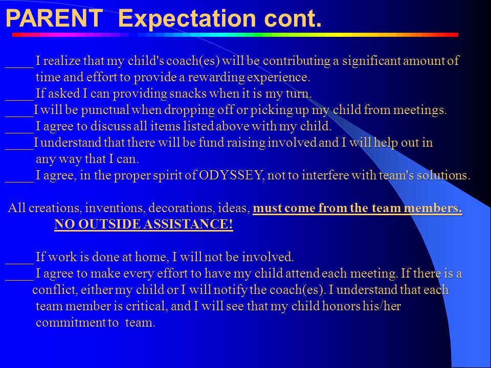 PARENT Expectation cont.