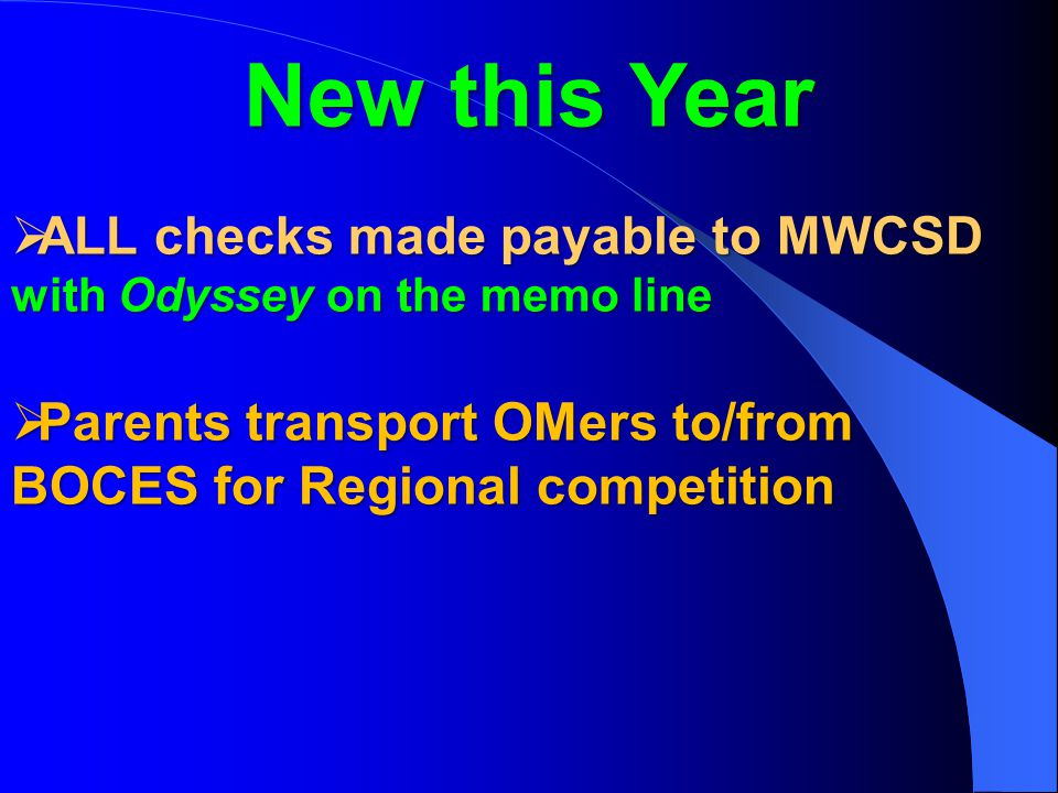 New this Year  ALL checks made payable to MWCSD with Odyssey on the memo line  Parents transport OMers to/from BOCES for Regional competition