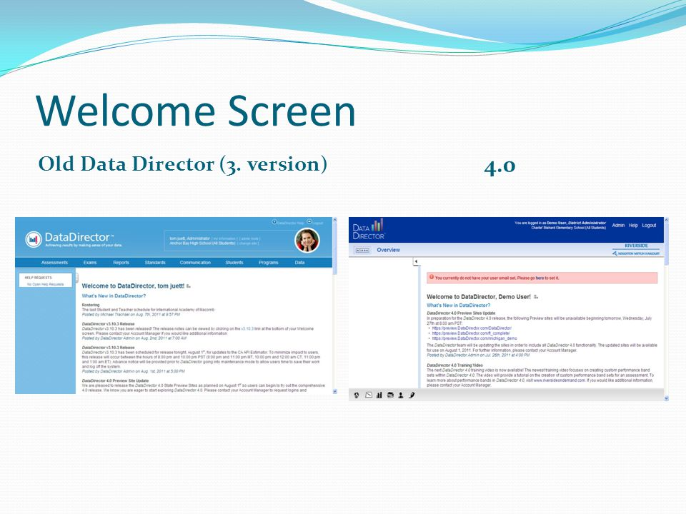 Welcome Screen Old Data Director (3. version) 4.0