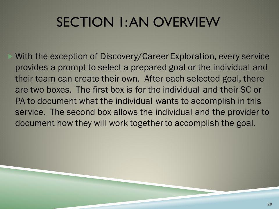 SECTION 1: AN OVERVIEW  With the exception of Discovery/Career Exploration, every service provides a prompt to select a prepared goal or the individu