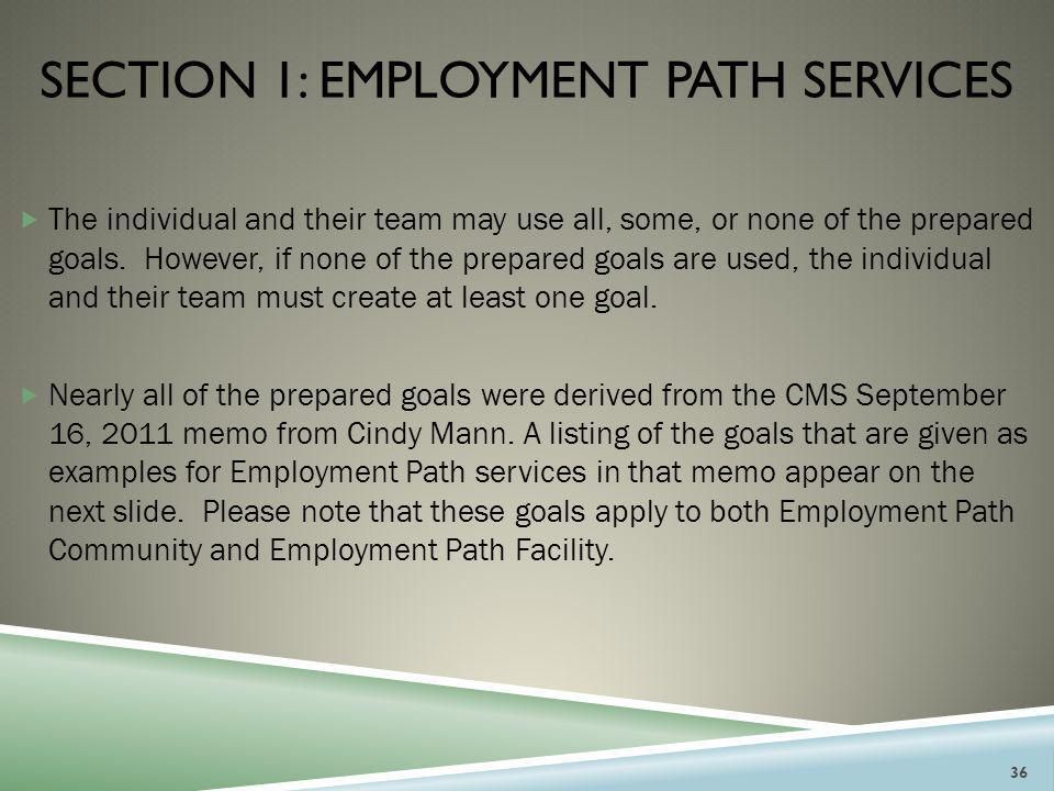 SECTION 1: EMPLOYMENT PATH SERVICES  The individual and their team may use all, some, or none of the prepared goals. However, if none of the prepared