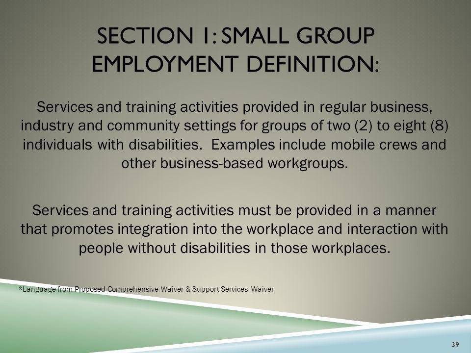 SECTION 1: SMALL GROUP EMPLOYMENT DEFINITION: Services and training activities provided in regular business, industry and community settings for group