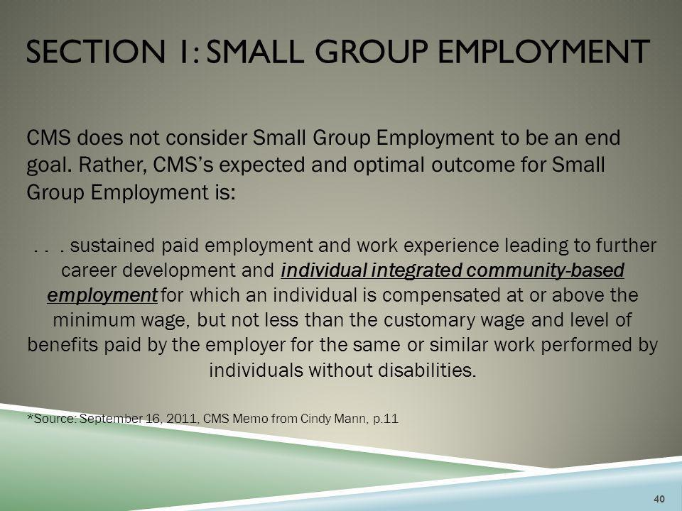 SECTION 1: SMALL GROUP EMPLOYMENT CMS does not consider Small Group Employment to be an end goal. Rather, CMS's expected and optimal outcome for Small