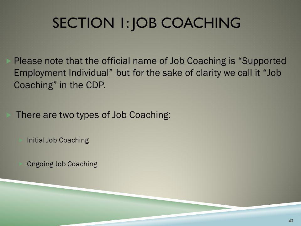 """SECTION 1: JOB COACHING  Please note that the official name of Job Coaching is """"Supported Employment Individual"""" but for the sake of clarity we call"""