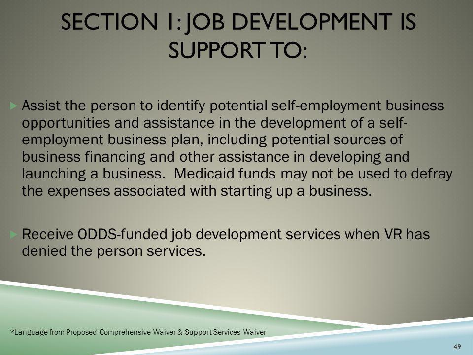 SECTION 1: JOB DEVELOPMENT IS SUPPORT TO:  Assist the person to identify potential self-employment business opportunities and assistance in the devel