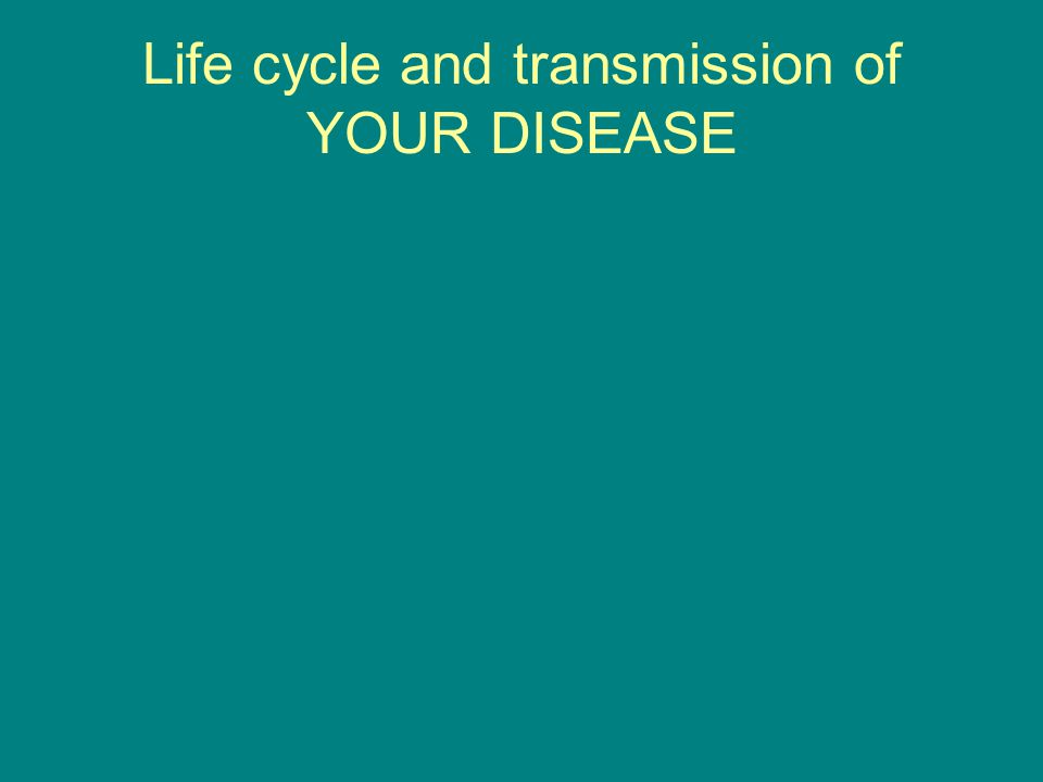 Life cycle and transmission of YOUR DISEASE