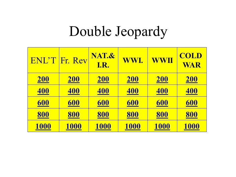 Double Jeopardy ENL'T 1000 800 600 400 200 Fr.Rev NAT.& I.R.