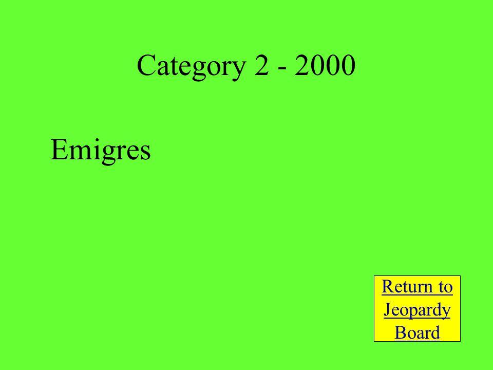 Emigres Return to Jeopardy Board Category 2 - 2000