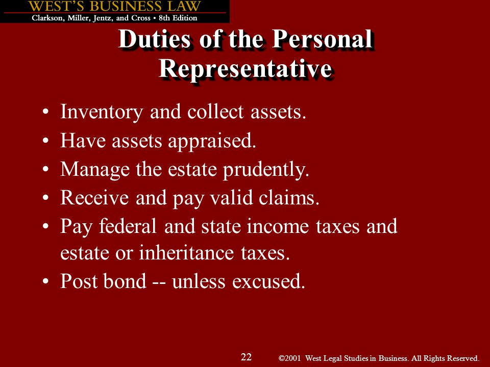 ©2001 West Legal Studies in Business. All Rights Reserved. 22 Duties of the Personal Representative Inventory and collect assets. Have assets appraise