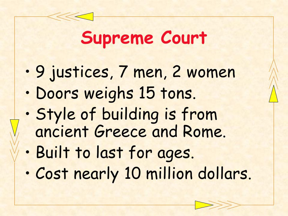 9 justices, 7 men, 2 women Doors weighs 15 tons. Style of building is from ancient Greece and Rome.