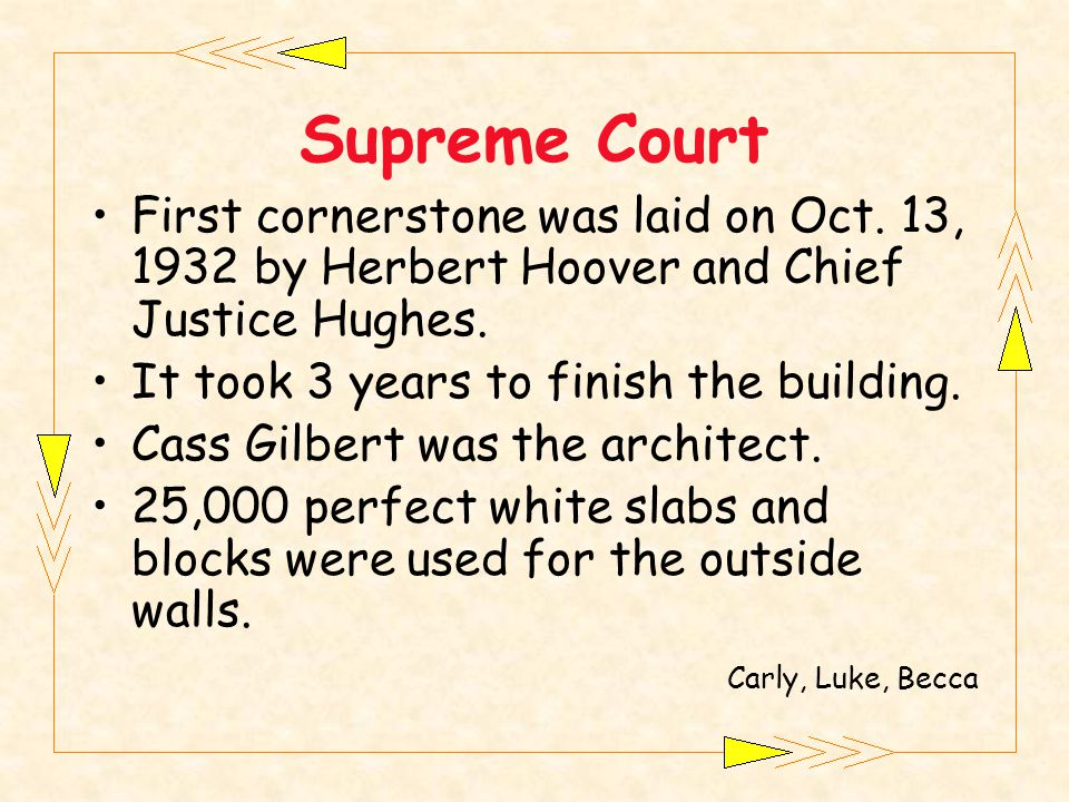 Supreme Court First cornerstone was laid on Oct.