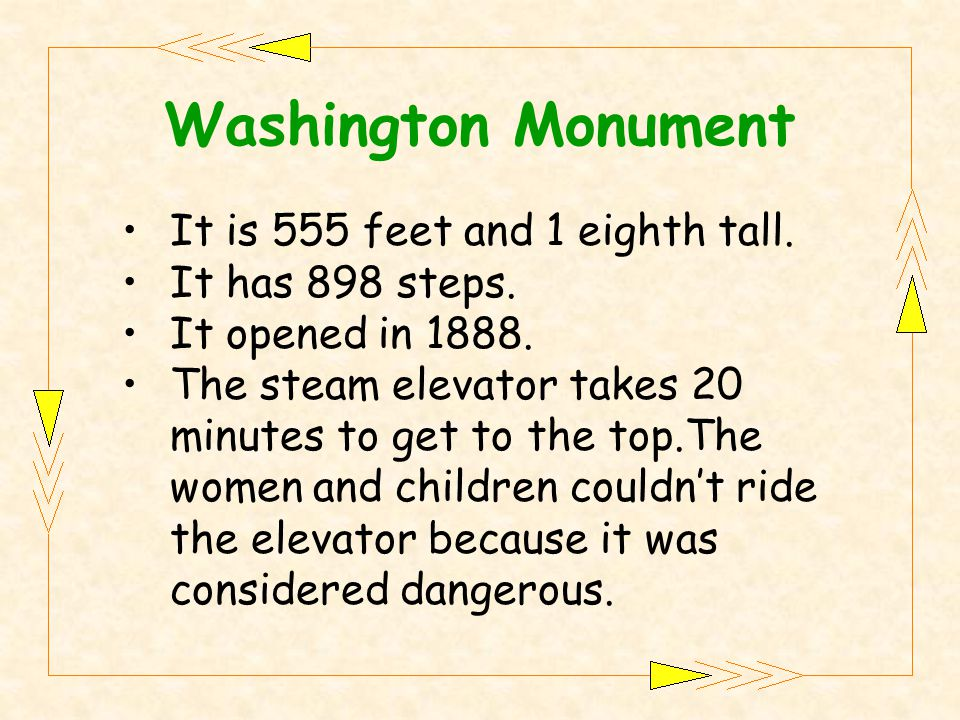 It is 555 feet and 1 eighth tall. It has 898 steps.